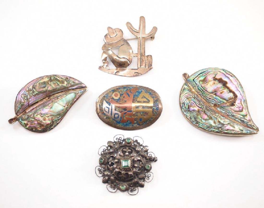 5 Silver Brooches