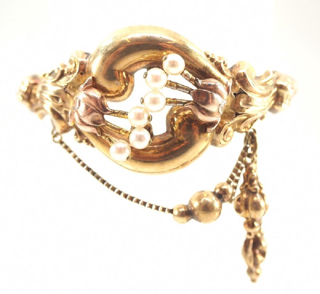14 kt Gold Victorian Hinged Bangle Bracelet