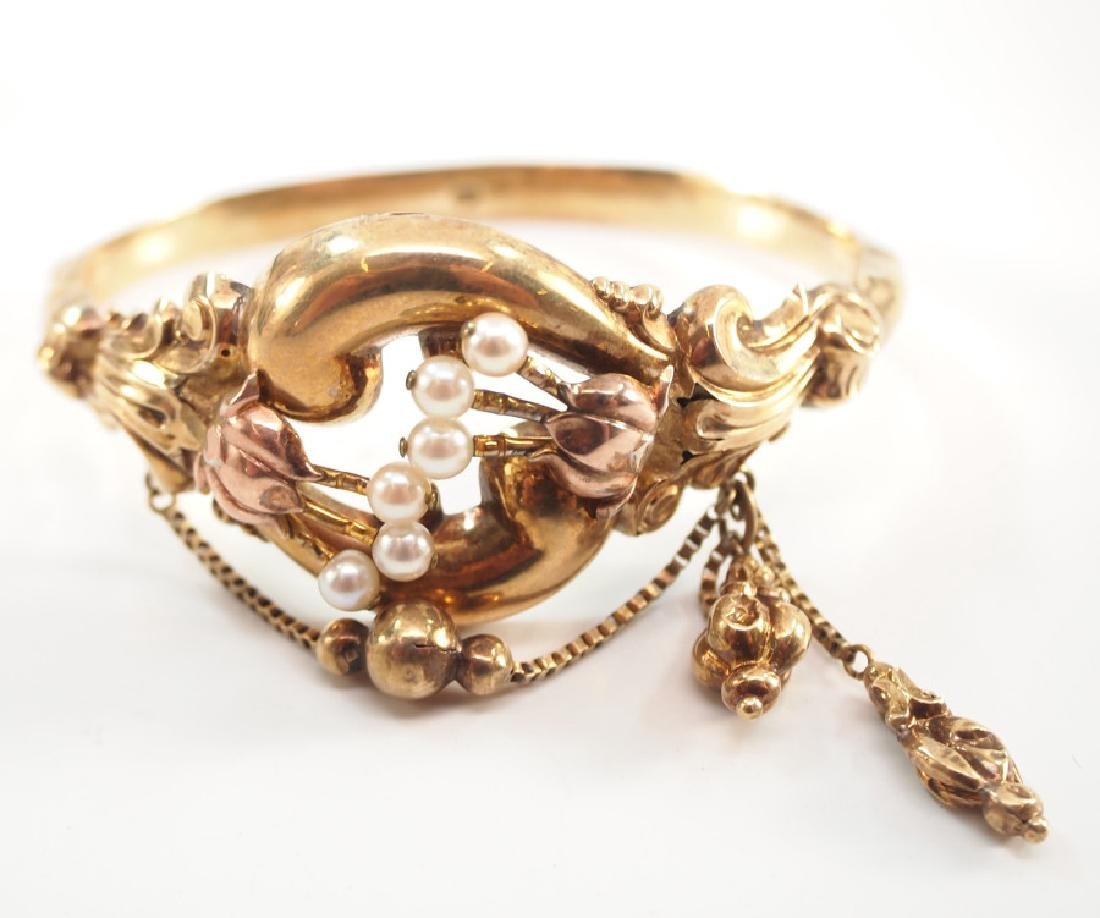 14 kt Gold Victorian Hinged Bangle Bracelet - 2