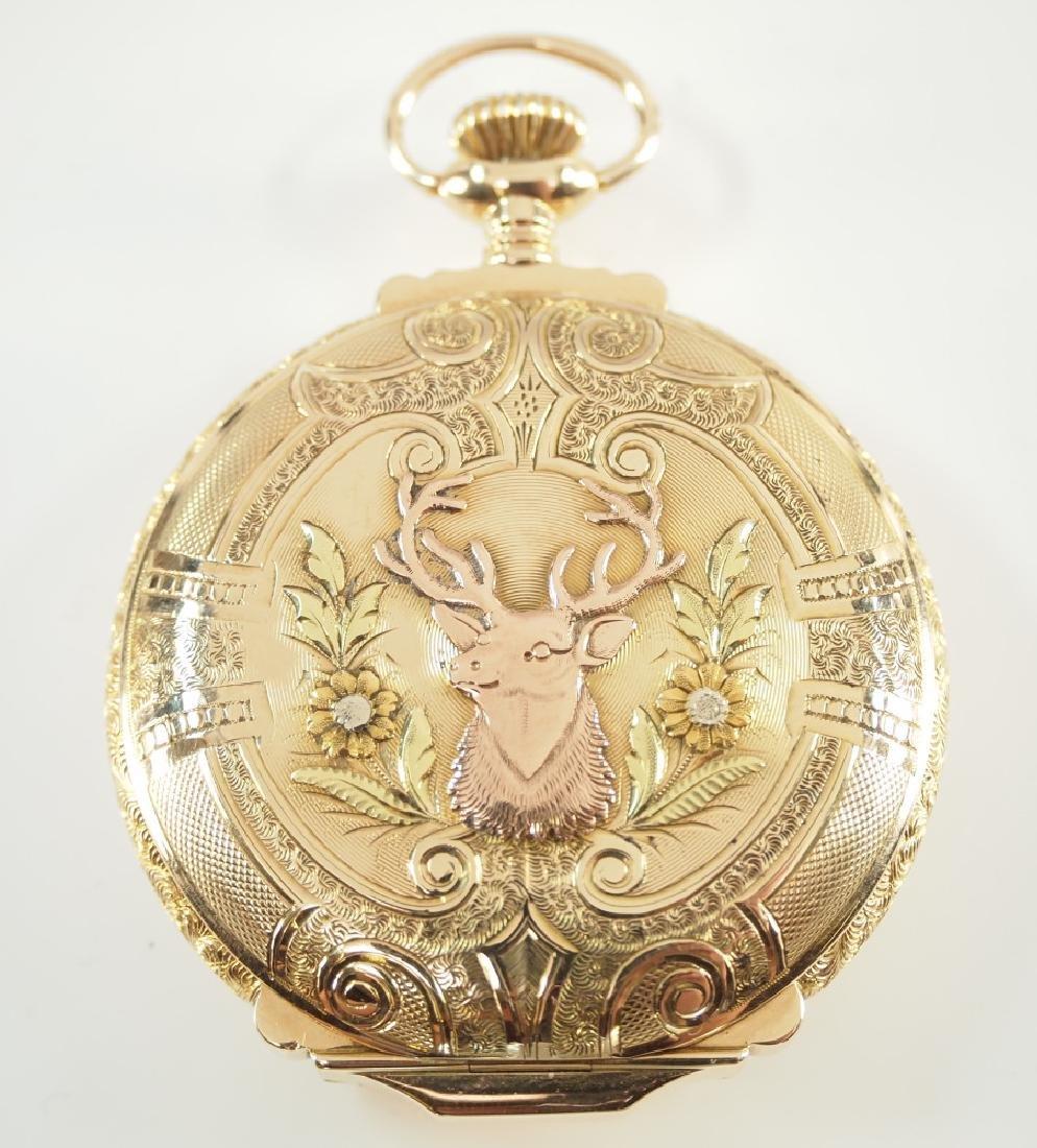 Elgin 14 k multi Gold box hinge pocket watch