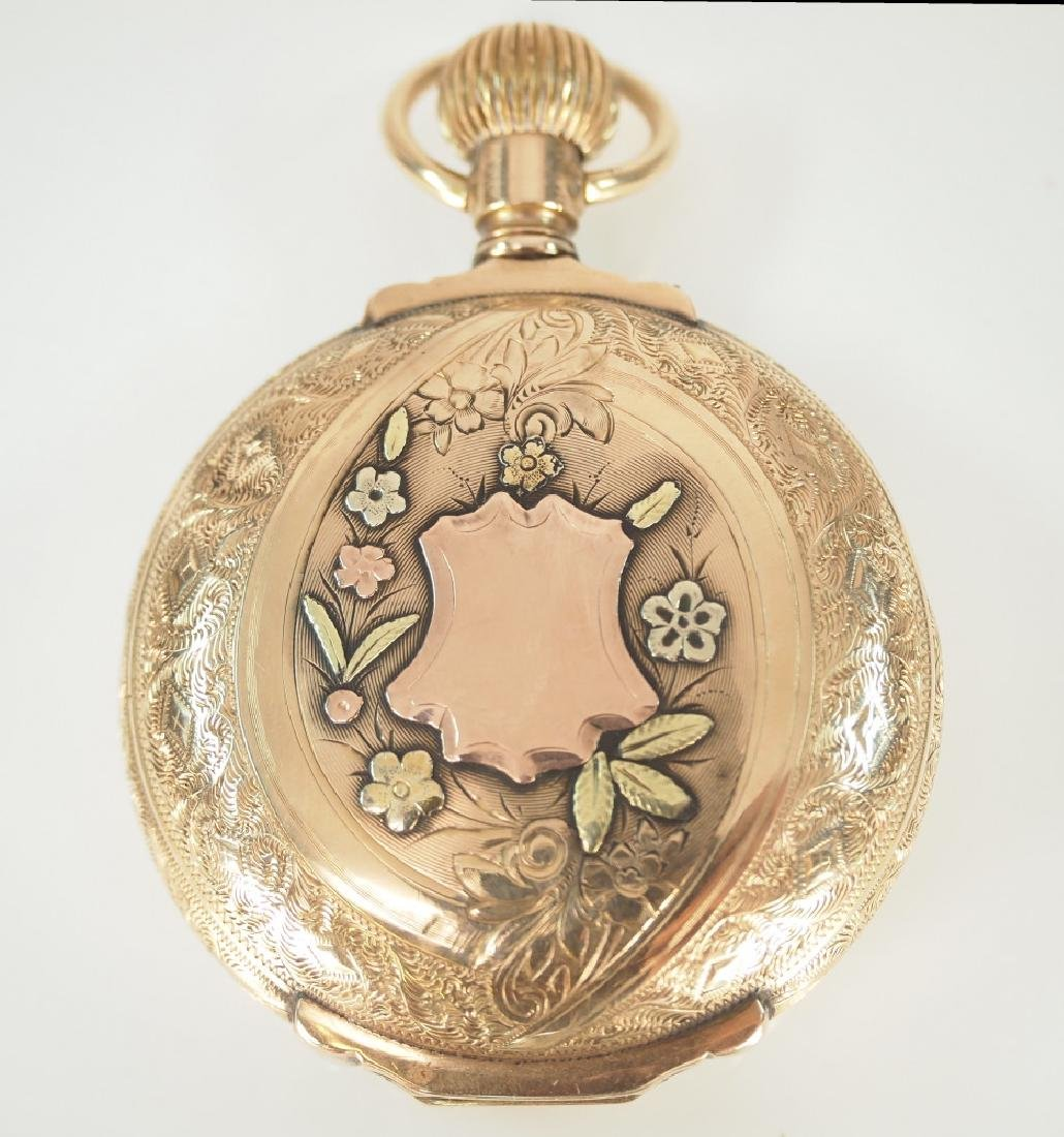 AWW Co. 14 k multi Gold box hinge pocket watch