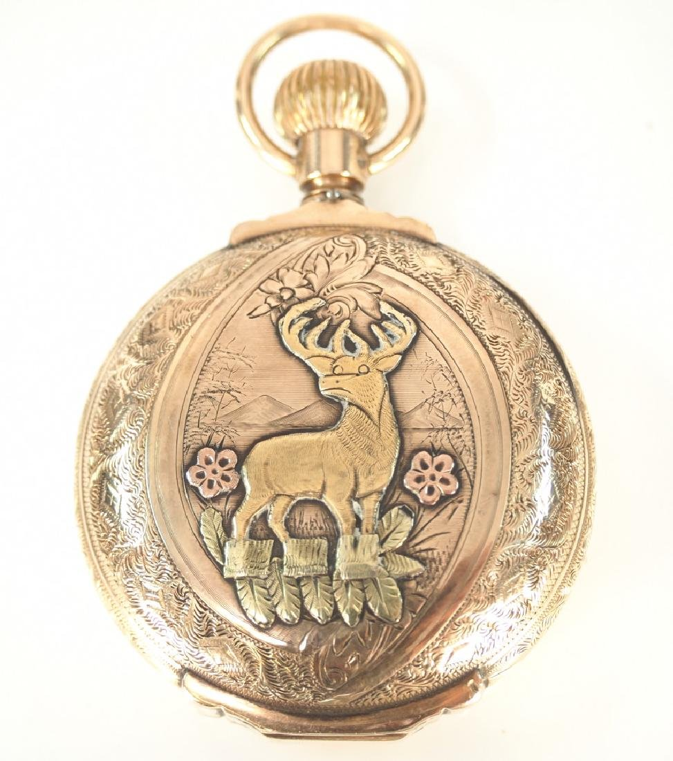 AWW Co. 14 k multi Gold box hinge pocket watch - 4