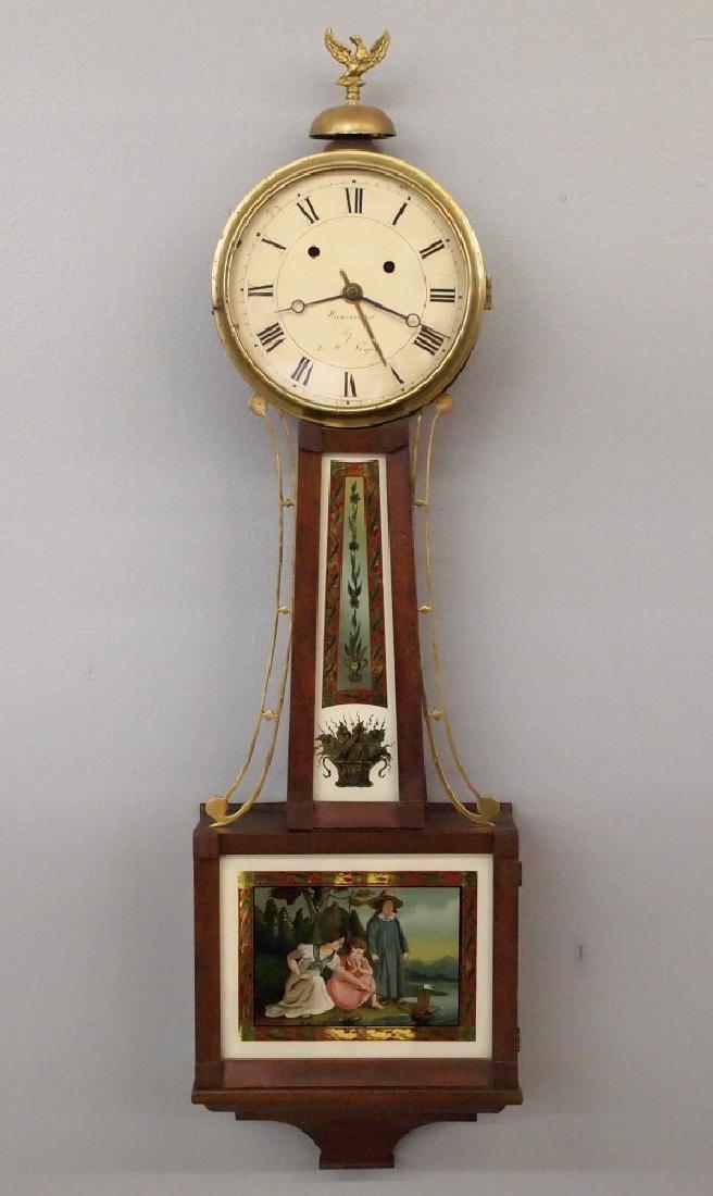L. W. Noyes Alarm banjo clock
