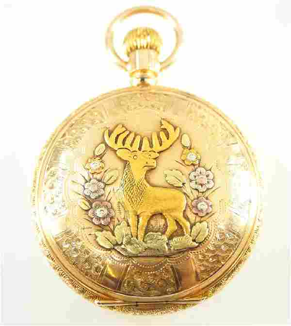 Hamilton 14 k multi Gold pocket watch