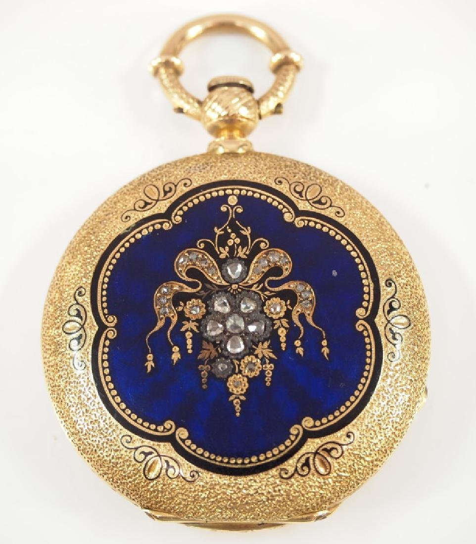 Humbert 18k enameled gold pocket watch with diamonds