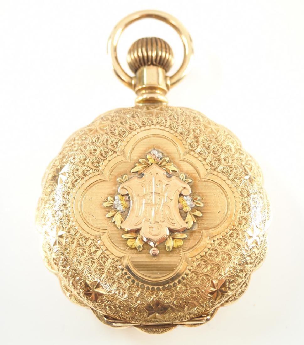 Hampden 14 k multi Gold pocket watch