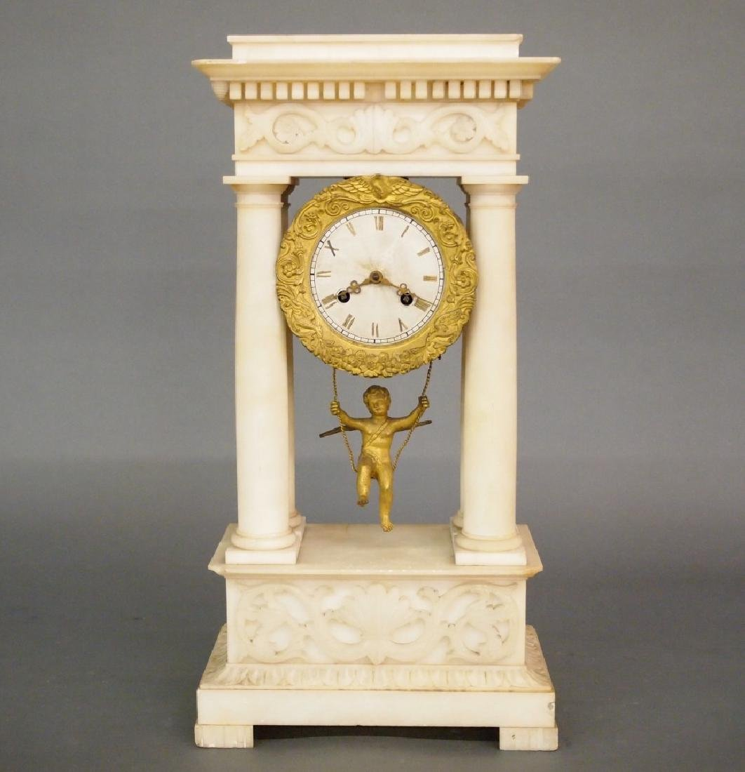 French Portico clock with swinging cherub