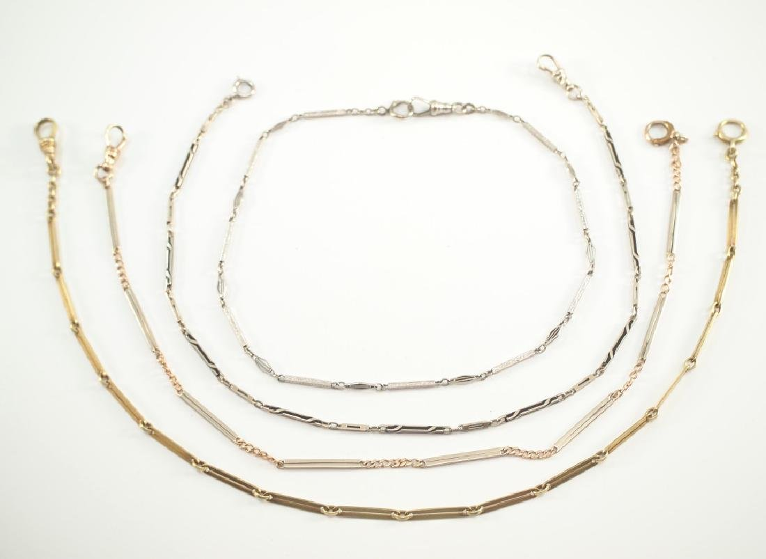 4 Sterling & Gold Pocket Watch Chains