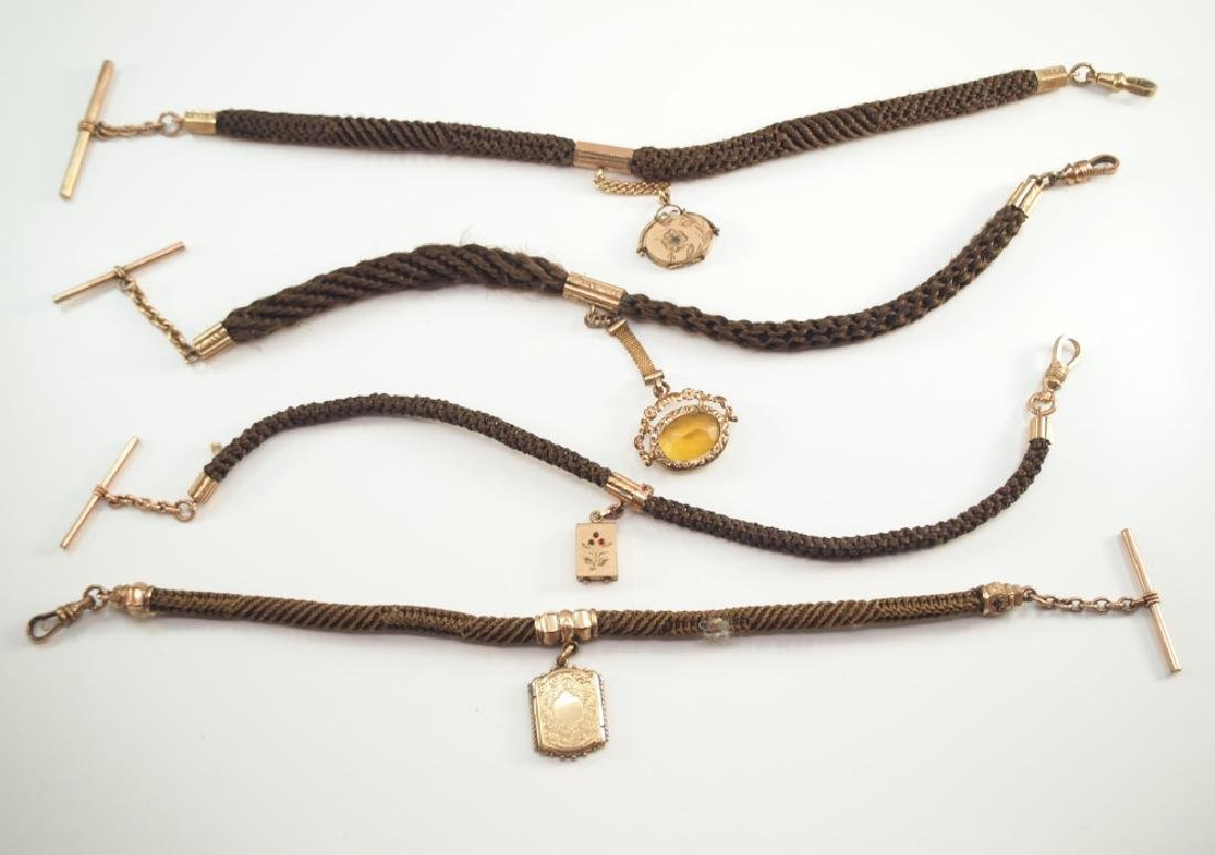4 Victorian Mourning Pocket Watch Chains