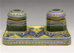 Dutch pottery inkstand