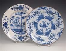 2 Delftware Blue & White Plates
