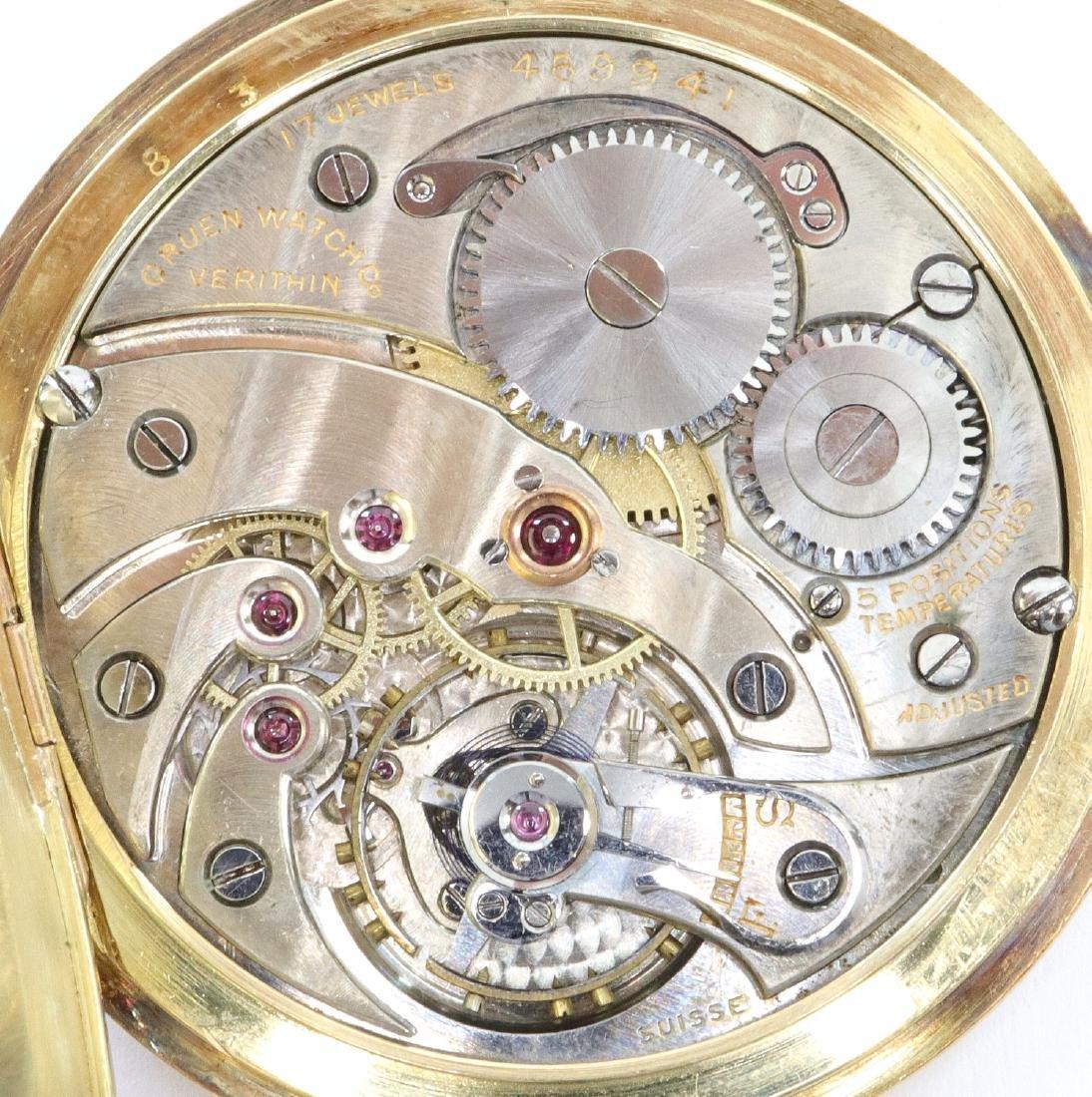 Gruen Verithin 14k Gold pocket watch - 2