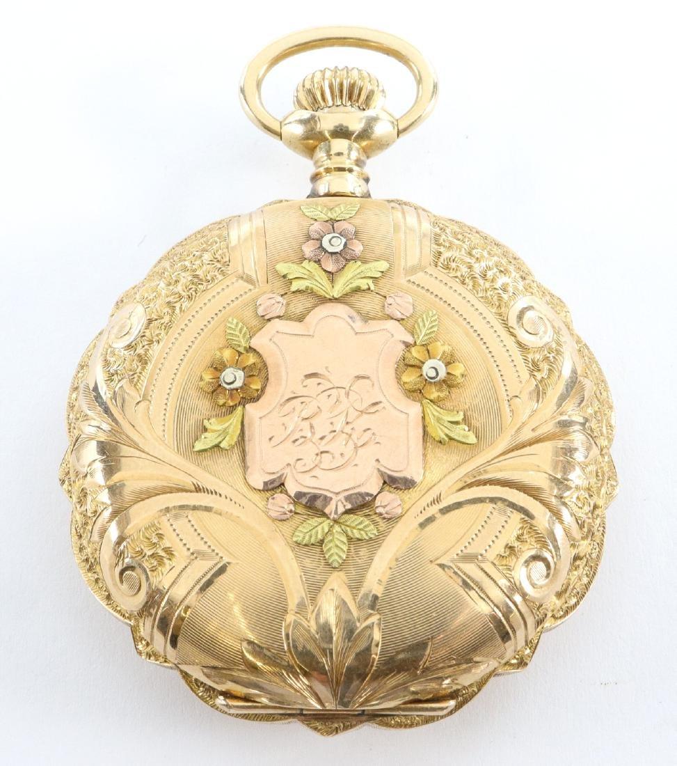 Elgin 14k multi Gold pendant watch