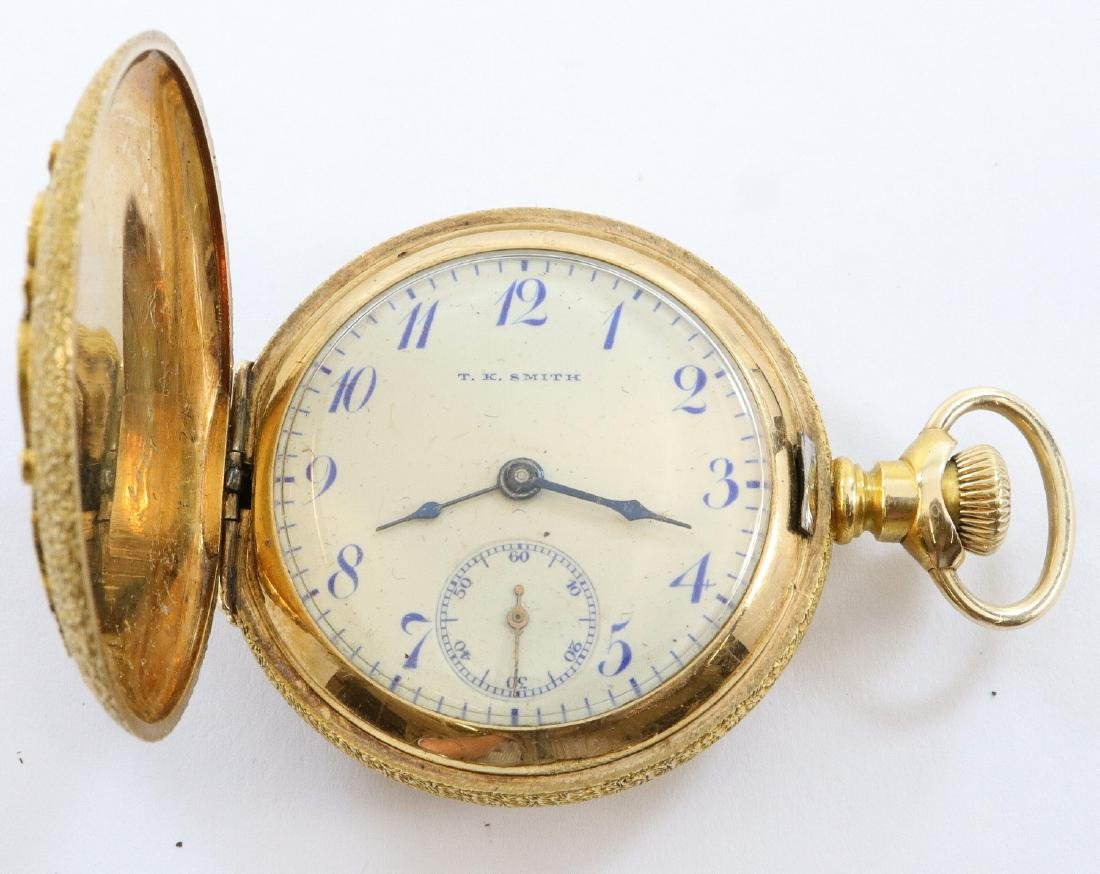 Swiss 14k Gold Private label pocket watch - 2