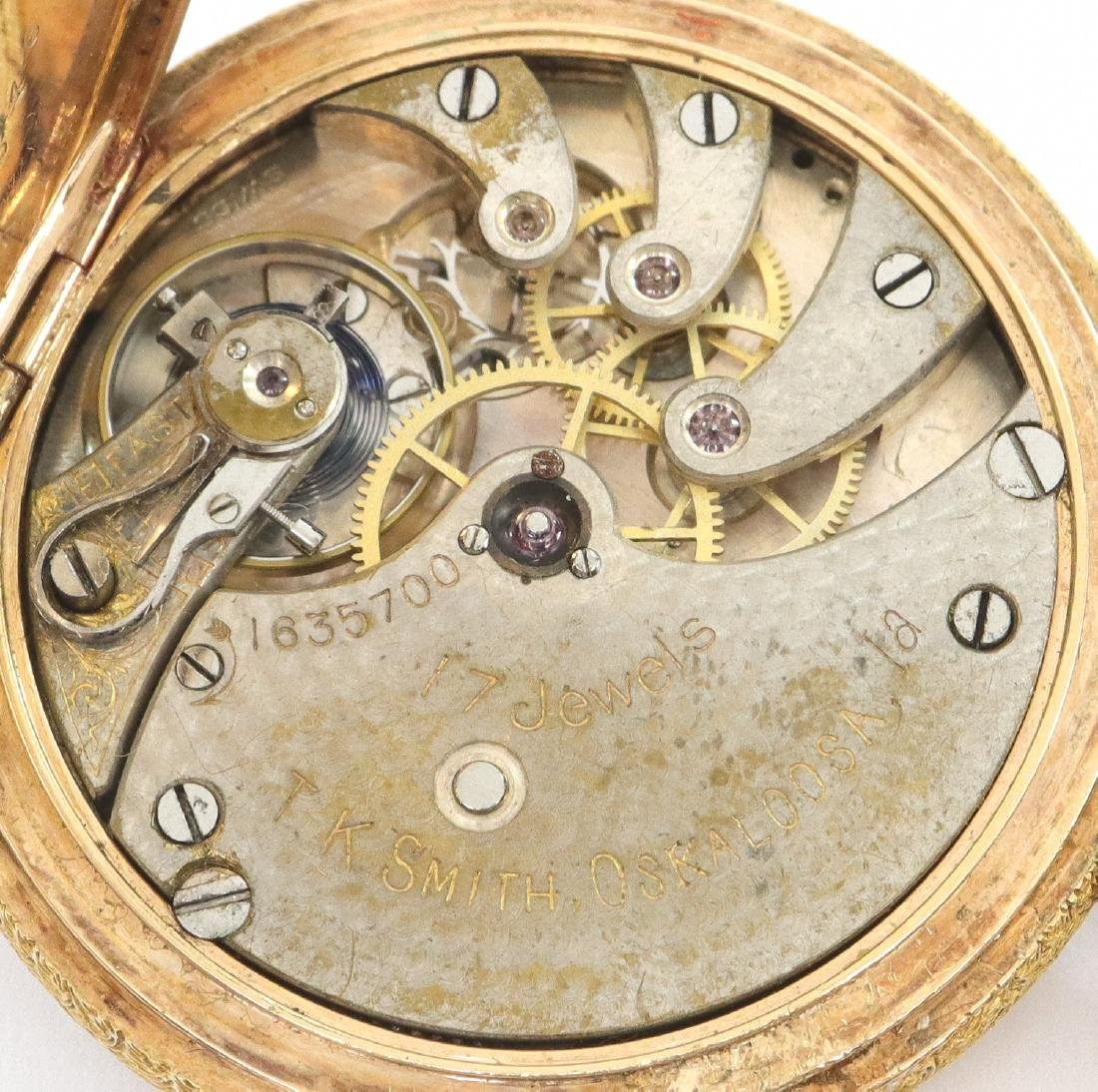 Swiss 14k Gold Private label pocket watch - 3