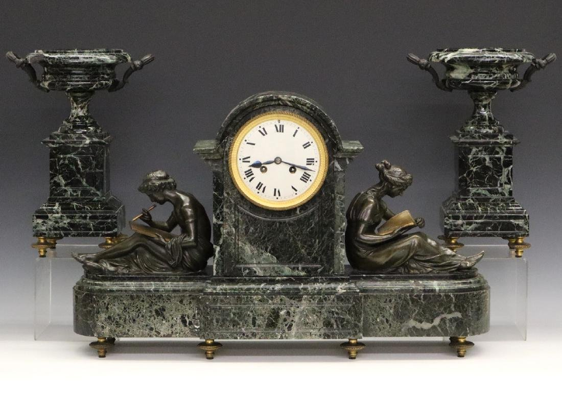 French Bronze and Marble clock set