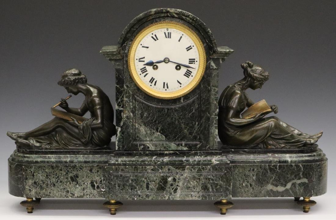 French Bronze and Marble clock set - 2