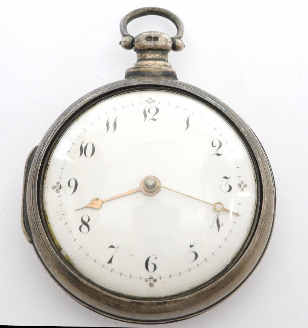 Natt. Olding Silver Pair case pocket watch