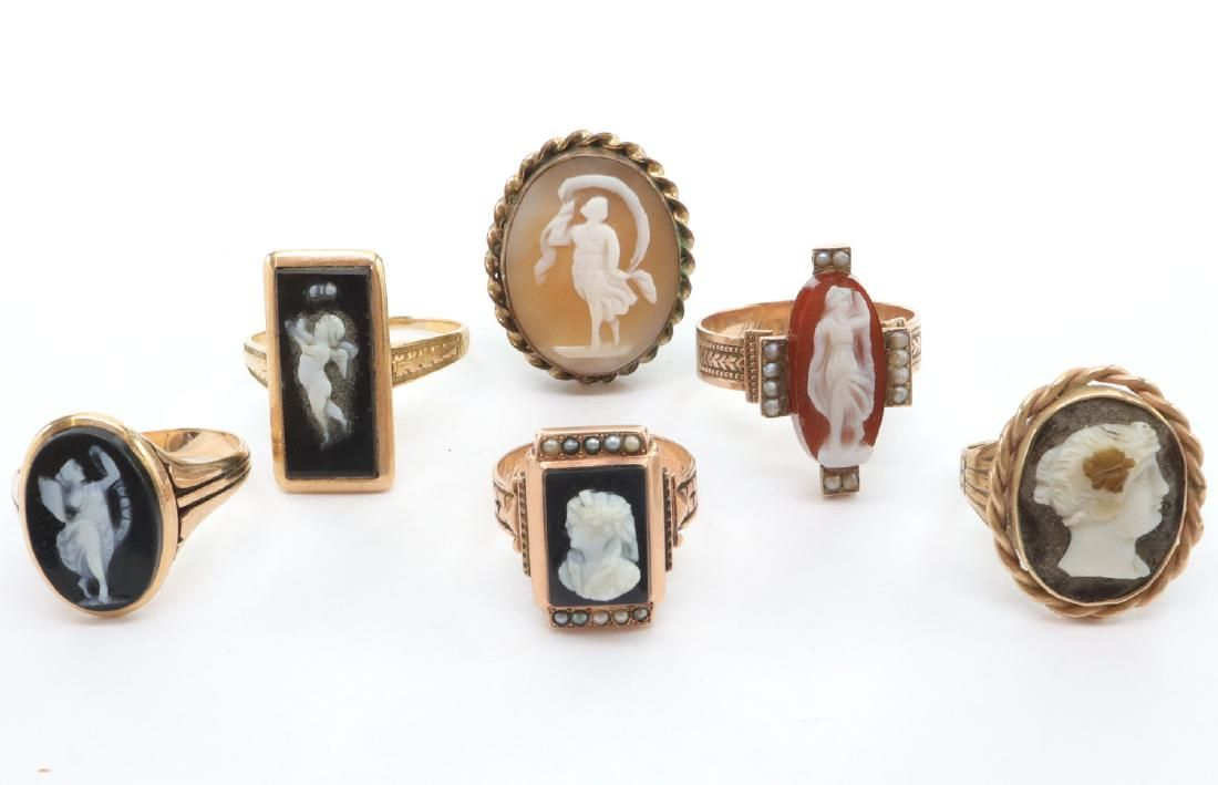 6 Victorian Cameo Rings