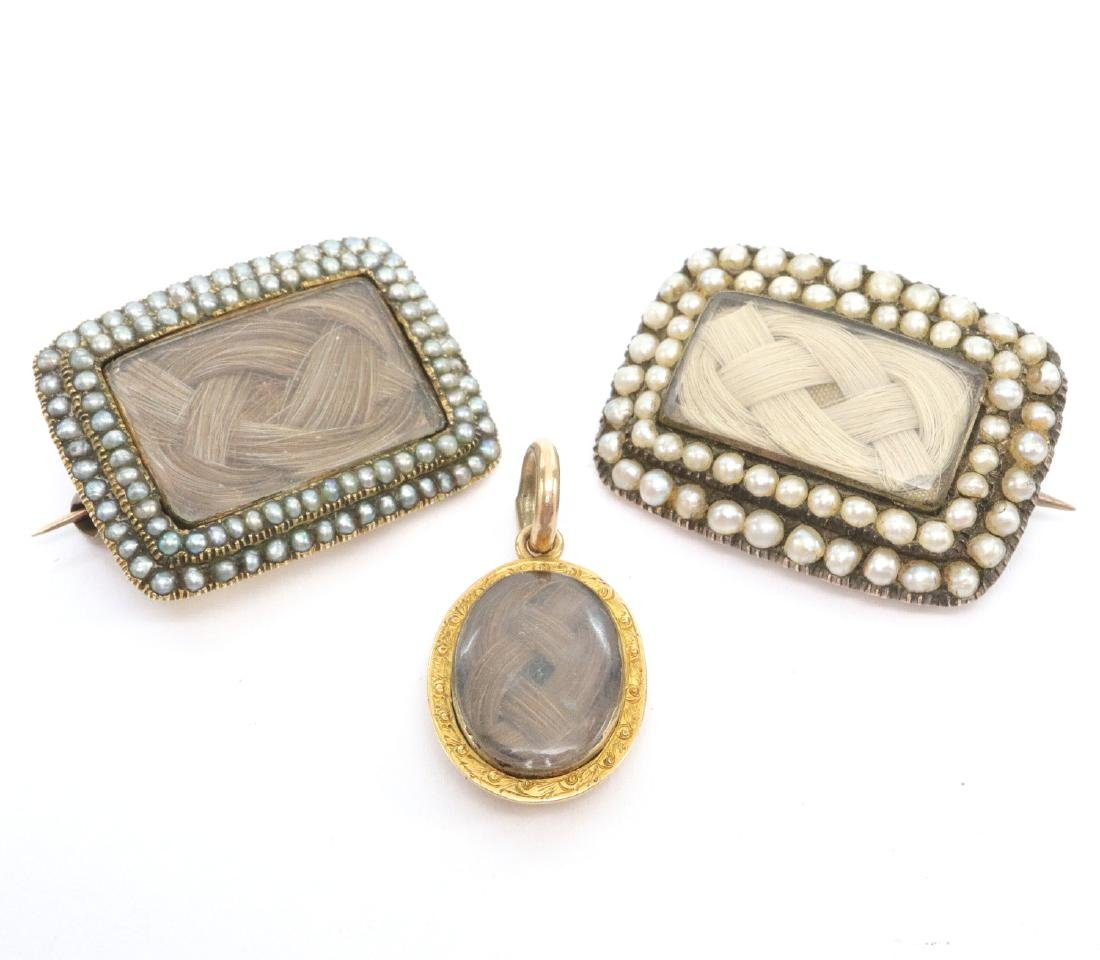 3 pcs of Victorian Mourning Jewelry