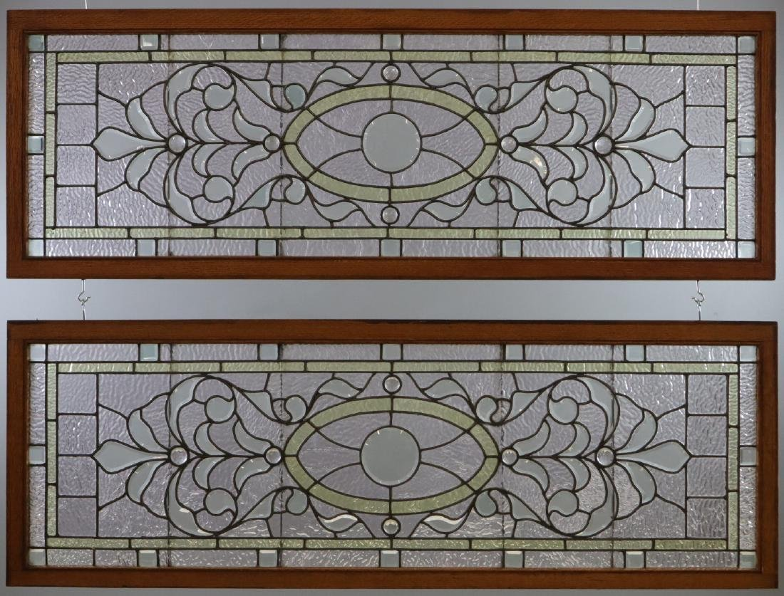 Pr of Stained Glass Transom Windows