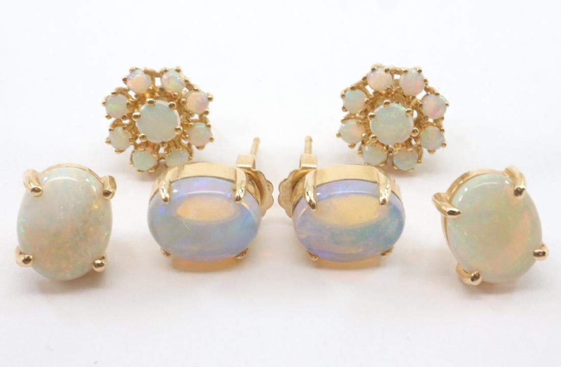3 prs. Of 14kt Gold & Opal Earrings