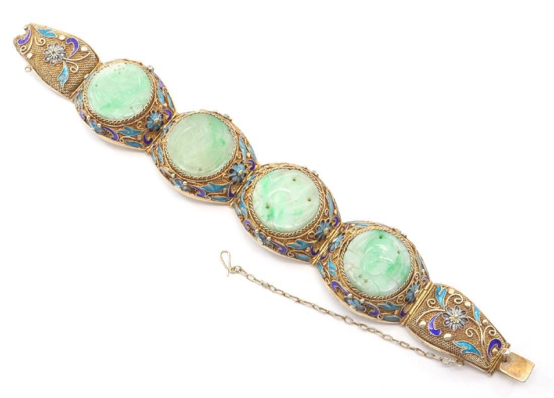 Chinese Jade & Enamel Bracelet - 2