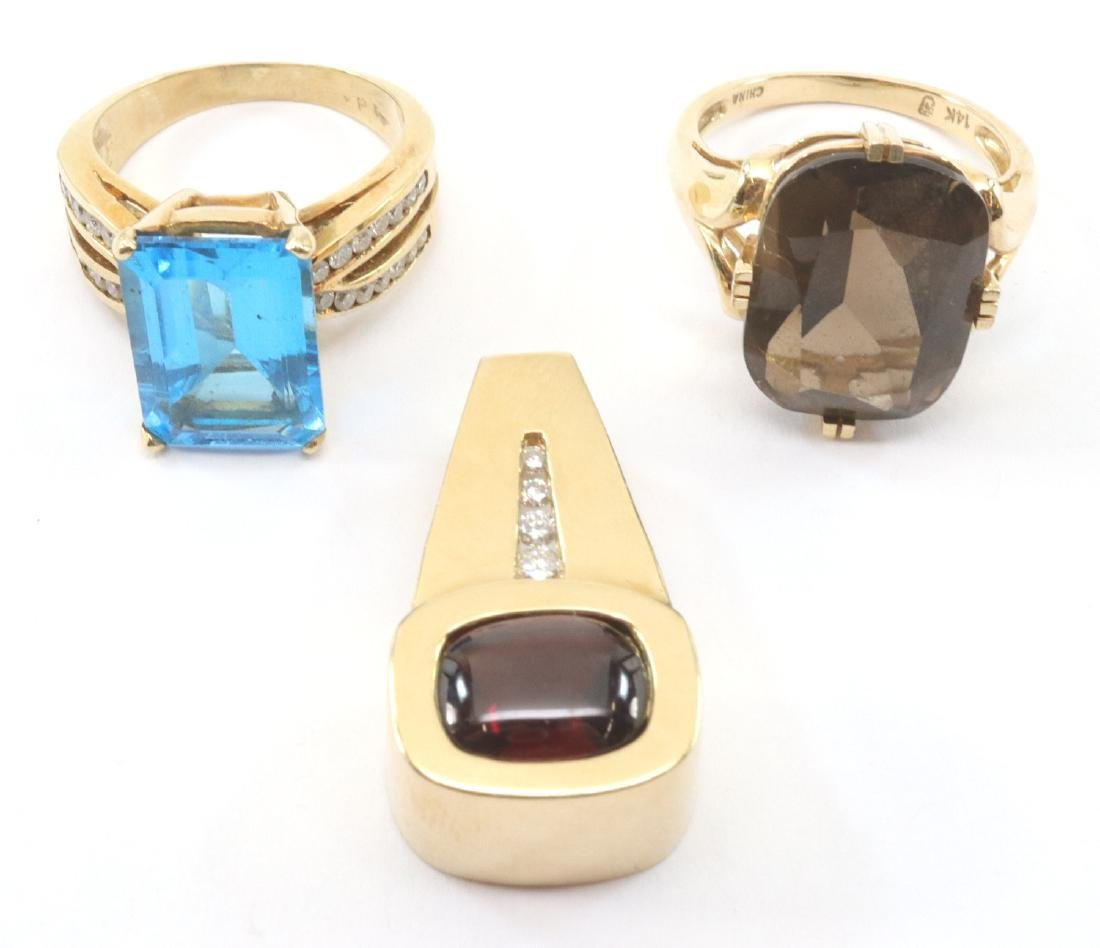 2 Rings & 1 Pendant with Gemstones - 2
