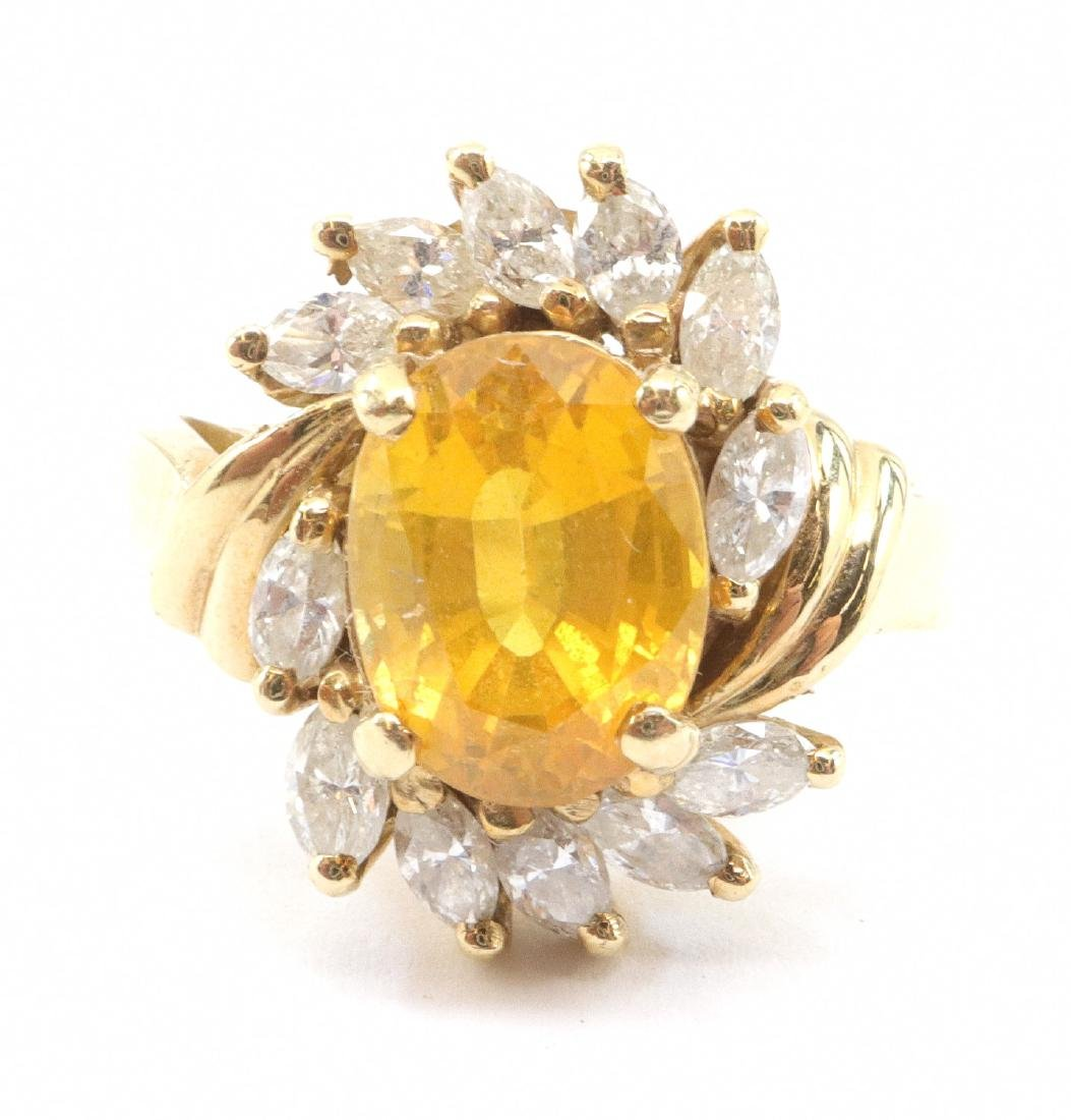 bd874b196e9a8 Yellow Sapphire & Diamond Cocktail Ring