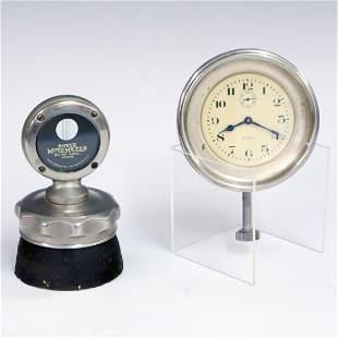 Moto Meter Radiator Cap & Elgin Car Clock