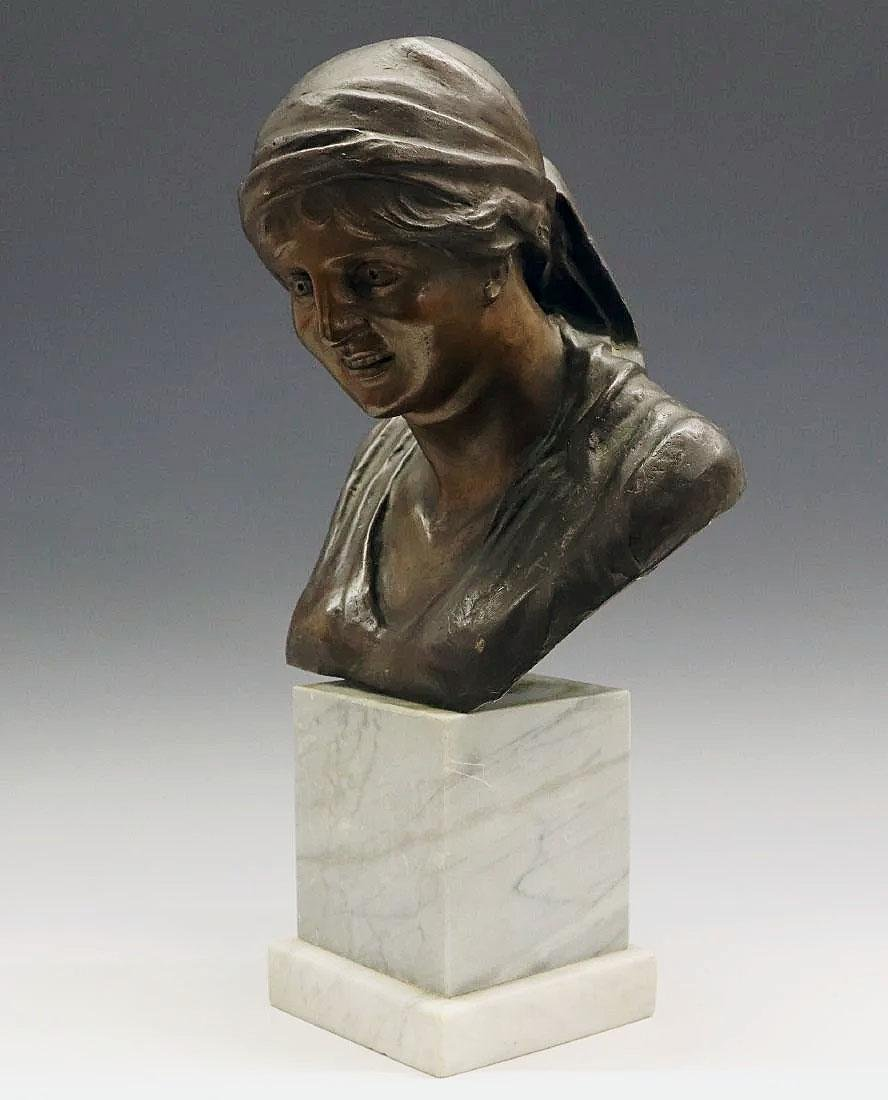 Bronze bust of a peasant woman