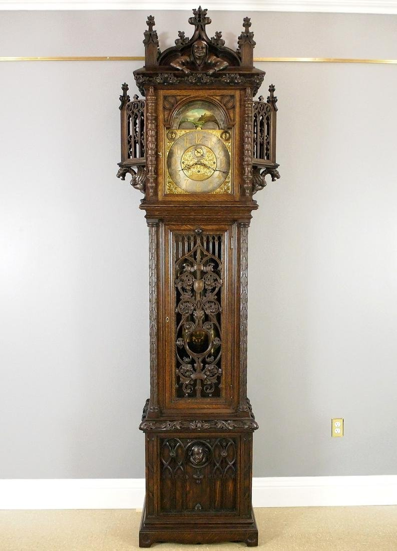 Tobey Gothic Revival Chiming hall clock