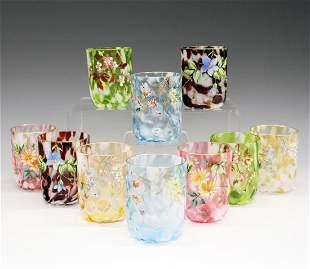 10 Enameled Glass Tumblers
