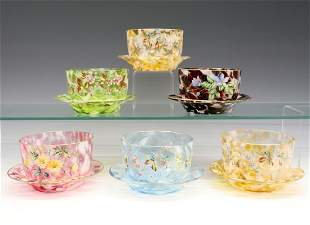 6 Sets of Glass Finger Bowls & Underplates