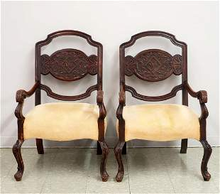 Carved Oak Library Chairs