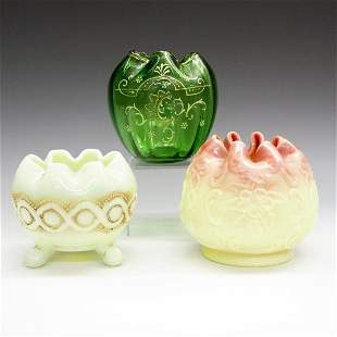 3 Glass Rose Bowls