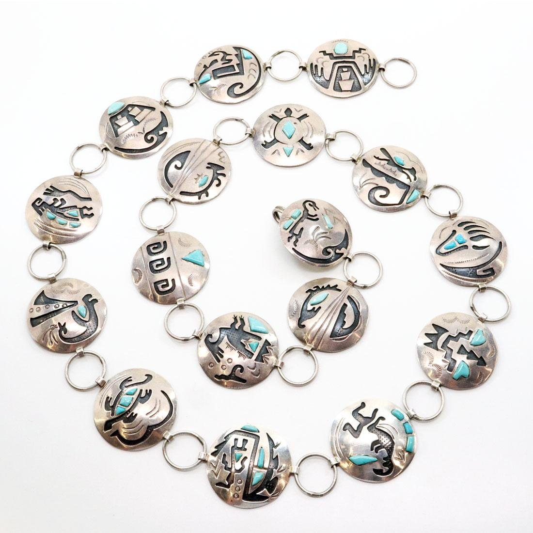 Navajo Silver & Turquoise Concho Belt
