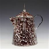 Brown & White Graniteware Coffee Boiler