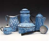 6 pcs of Blue & White Graniteware