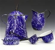5 pcs Cobalt Blue & White Graniteware