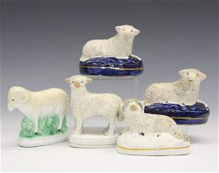 5 Staffordshire Figures of Sheep