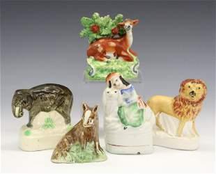 5 Staffordshire Figures of Animals