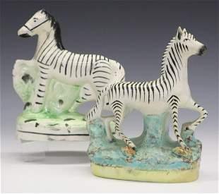 2 Staffordshire Figures of Zebras