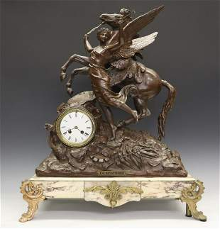 """French """"La Renommee"""" figural clock"""