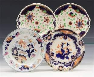 4 Gaudy Ironstone Plates