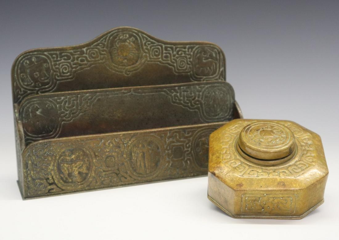 2 pcs Tiffany Bronze Desk Set