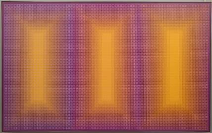"Julian Stanczak, ""Stratified"" Acrylic on Canvas"