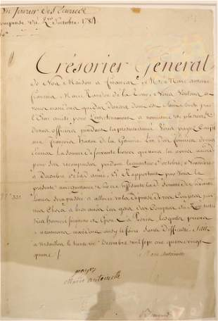 Document signed by Marie Antoinette