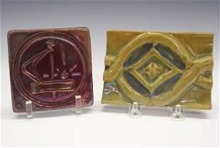 2 Art Pottery Tiles