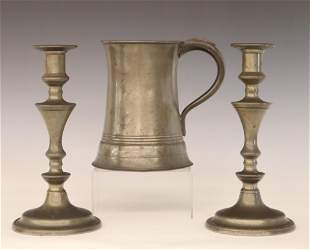 Pewter Candlesticks And Tankard